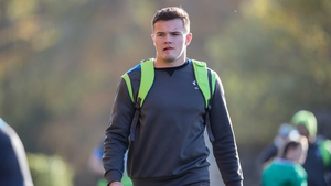 Jacob Stockdale is handed the number 11 jersey for the clash with South Africa