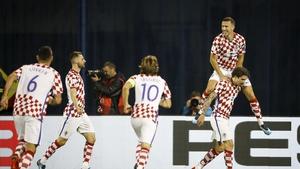 Croatia's Ivan Perisic celebrates against Greece.