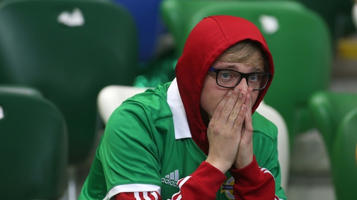 A dejected Northern Ireland fan following their 1-0 defeat to Switzerland in Windsor Park last night