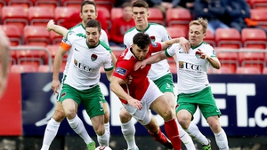 Josh O'Hanlon in action against Cork City earlier this year