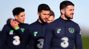 Robbie Brady (R) is eyeing another away day to remember in Denmark