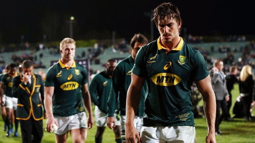 Eben Etzebeth of South Africa walks off the field after the Rugby Championship loss to New Zealand