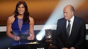 Hope Solo and Sepp Blatter during the FIFA Ballon d'Or Gala 2013