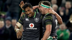 Debutant Bundee aki celebrates Rob Herring's late try