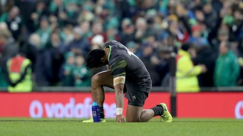 Bundee Aki takes a moment to himself after the game