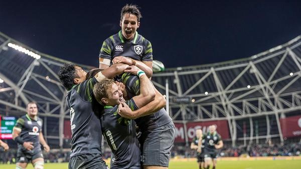 Ireland's Sean O'Brien, Bundee Aki, Joey Carberry and Kieran Marmion congratulate try scorer Jacob Stockdale
