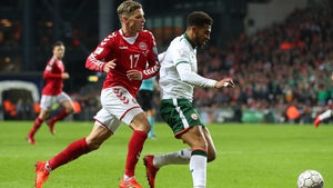 Cyrus Christie breaks past the challenge of Jens Stryger Larsen