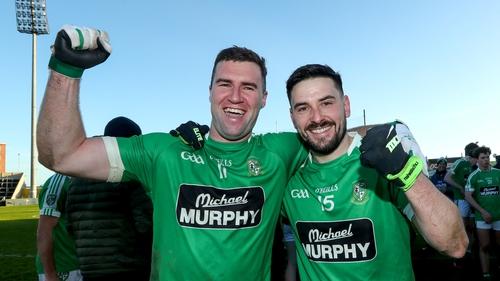 Eddie Heavey and Niall Hurley celebrate Moorefield's victory.