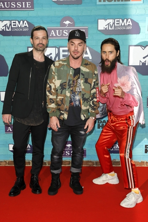 Tomo Milicevic, Shannon Leto and Jared Leto of Thirty Seconds to Mars all brought their individual style to the EMAs.
