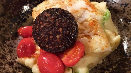 Paul Fynn's Hake with champ sauce & black pudding
