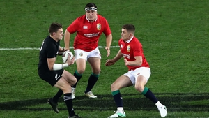 Beauden Barrett (L) and Owen Farrell (R) faced each other on the Lions tour this summer