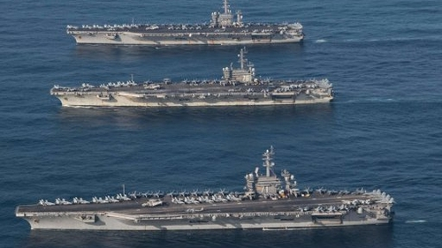 USS Ronald Reagan, USS Nimitz and USS Theodore Roosevelt taking part in joint navy drills with South Korea