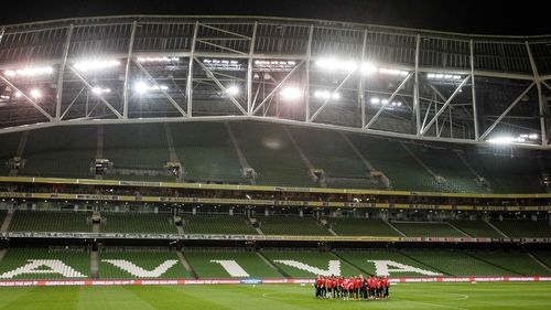 A view of Denmark training at the Aviva