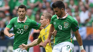 Wes Hoolahan (L) and Shane Long were left out of the starting team for the first leg in Copenhagen