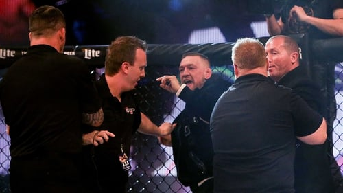 Conor McGregor was involved in a scuffle with referee Marc Goddard at the Bellator 187 event in Dublin