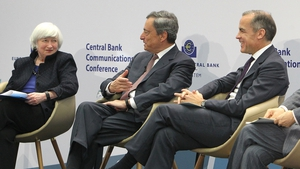 Fed chief Janet Yellen, ECB chief Mario Draghi and Bank of England's Mark Carney at the event in Frankfurt today