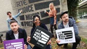 Pictured left to right at Tuesday's Choice announcement: front - 2016 Choice nominees Conor Adams of All Twvins, Song nominee Soulé, and Gar Kaye of All Tvinns. Back: Eoghan McDermott and Tracey Clifford of RTÉ 2fm