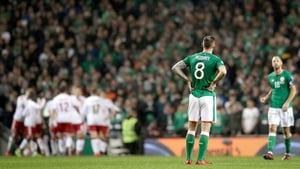Daryl Murphy reacts to Denmark's second goal in the 5-1 defeat at the Aviva Stadium