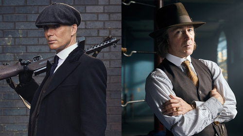 Cillian Murphy as Tommy Shelby and Aidan Gillen as Aberama Gold