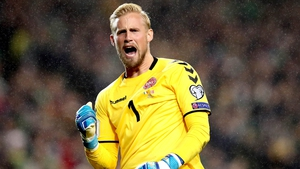 Kasper Schmeichel celebrates one of Denmark's goals