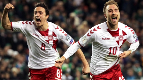 Thomas Delaney, left, and Christian Eriksen, celebrate Denmark's World Cup play-off victory over Ireland