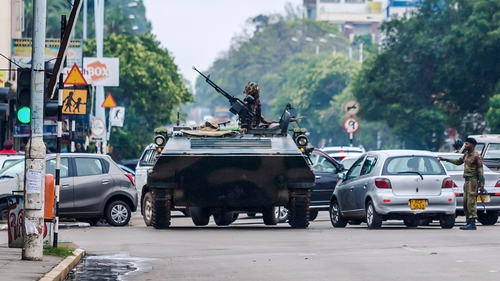 Armoured vehicles are patrolling in Harare