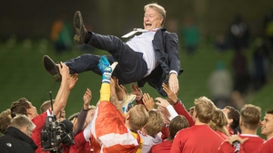 Age Hareide celebrates with his team at the Aviva Stadium