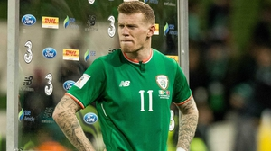 James McClean fights vack the tears after the loss to Denmark