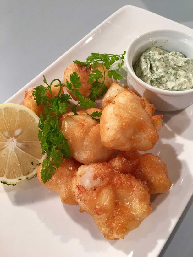 Wade's Fried Monkfish, Garlic & Herb Mayo