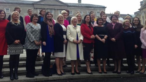 Oireachtas Women's Caucus outisde Leinster House today