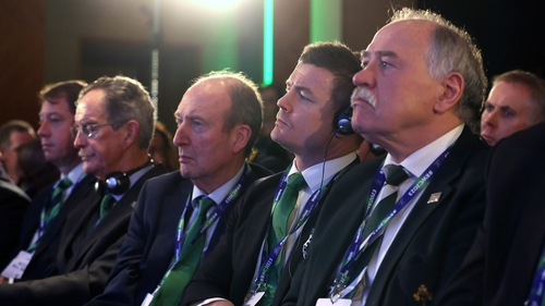 The Irish bid team gaze on in London as France are awarded the Rugby World Cup