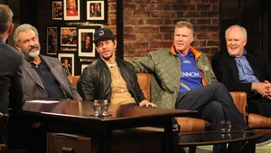 Mel Gibson, Mark Wahlberg, Will Ferrell and John Lithgow for this week's Late Late Show
