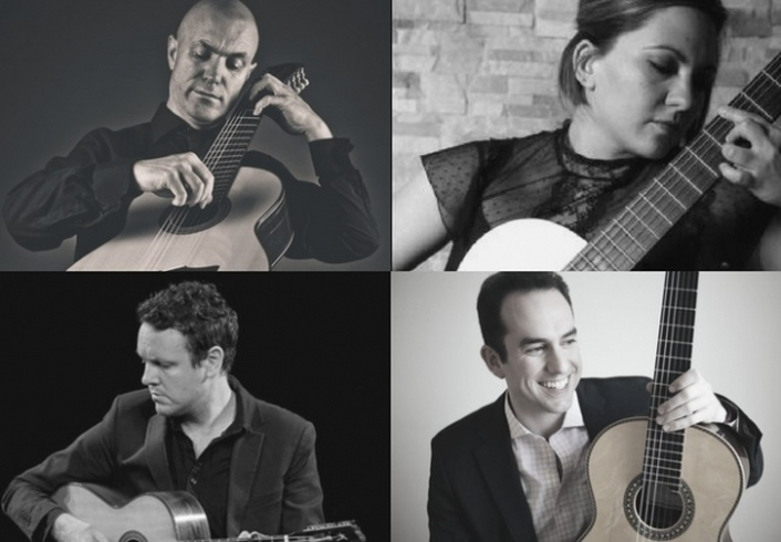 International Guitar Quartet in session