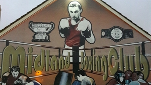 A mural celebrating Carl Frampton outside the Midland Boxing Club