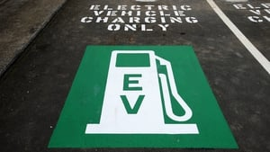 An electric car charging unit at Auckland airport in New Zealand