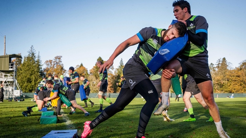 Stuart McCloskey and Joey Carbery hit it off at training