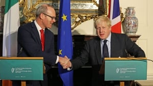 Simon Coveney and Boris Johnson at a press conference in Dublin
