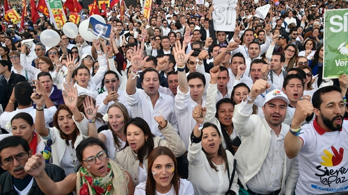 Bogotá celebrations to mark the signing of the historic agreement between the Colombian government and FARC rebels ending 52 years of conflict