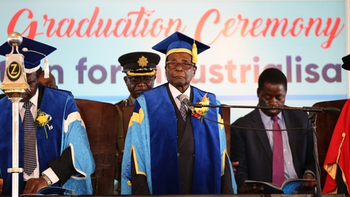 Robert Mugabe attended a university graduation ceremony in the capital, Harare, in his first public appearance since themilitary seizure of power