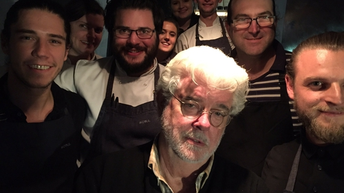 George Lucas with the staff of Holywood's Noble