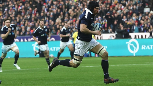 Tim Swinson breaks clear for the only try of his Scotland career, which came against France in a 22-16 Six Nations defeat in Paris in 2017