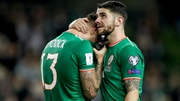 Jeff Hendrick and Robbie Brady after Tuesday's defeat