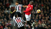 Romelu Lukaku rises to win a header at Old Trafford