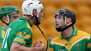 Kilcormac-Kiloughey's Conor Mahon and Shane Guinan celebrate after the game