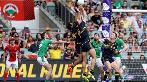 Australia's Eddie Betts catches a high ball