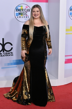 Kelly Clarkson wore an off-the-shoulder gown by Christian Siriano with a Chanel clutch.