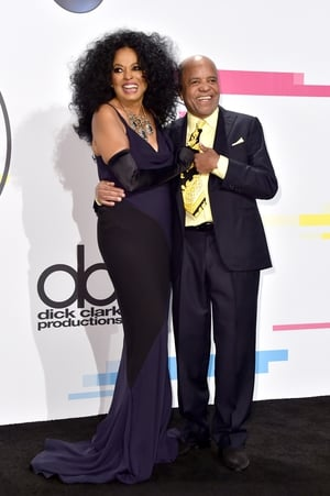 Diana Ross and Berry Gordy pose in the press room. Diana brought home the lifetime achievement award in a full length dress and gloves.