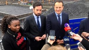 Joella Dhlamini is seen alongside Eoghan Murphy and Leo Varadkar at a social housing announcement