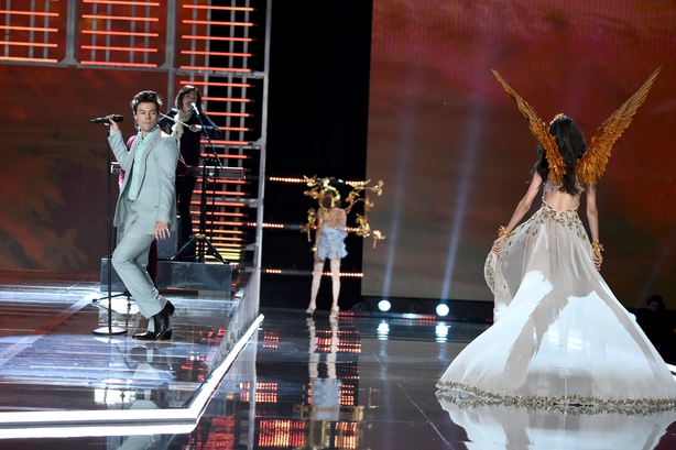 Harry Styles and Blanca Padilla walks the runway during the 2017 Victoria's Secret Fashion Show