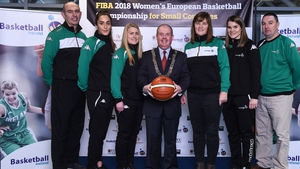 Deputy Lord Mayor of Cork Terry Shannon with members of the Ireland team and coaching staff